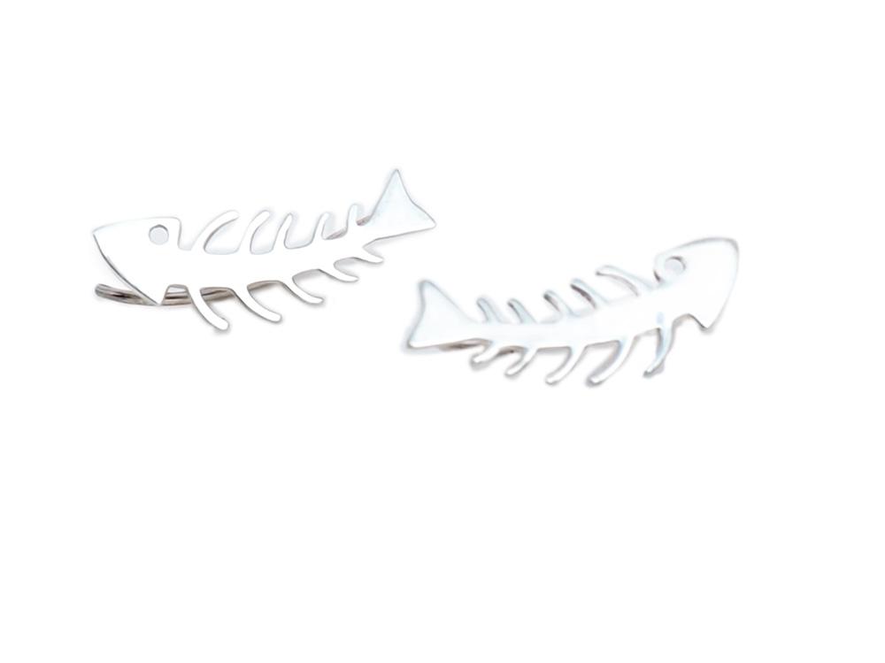 pendientes plata raspa pescado. pendientes ear uff