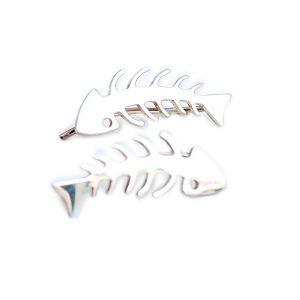 pendientes plata raspa pescado. Pendientes ear cuff.