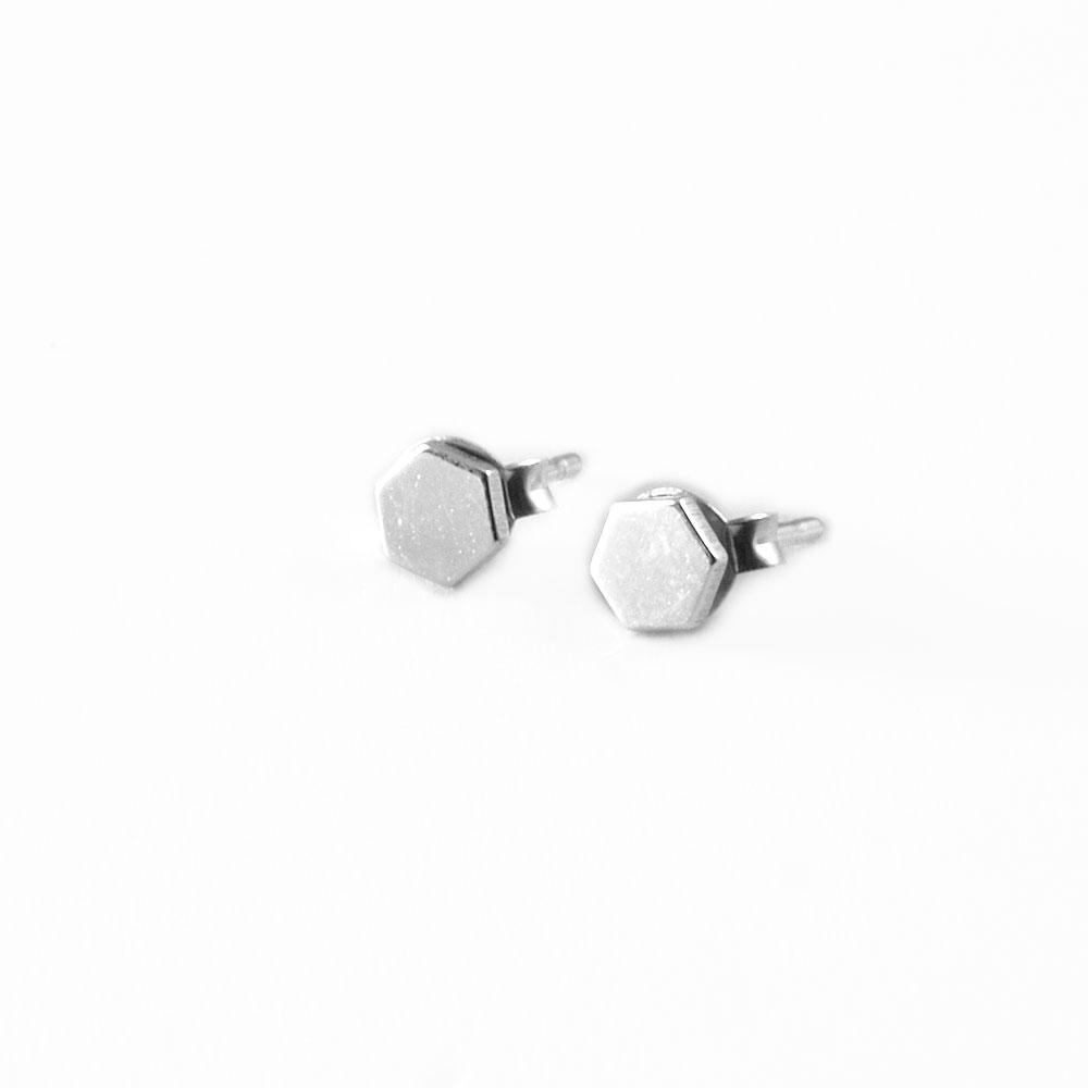 Pendientes de plata hexágonos.