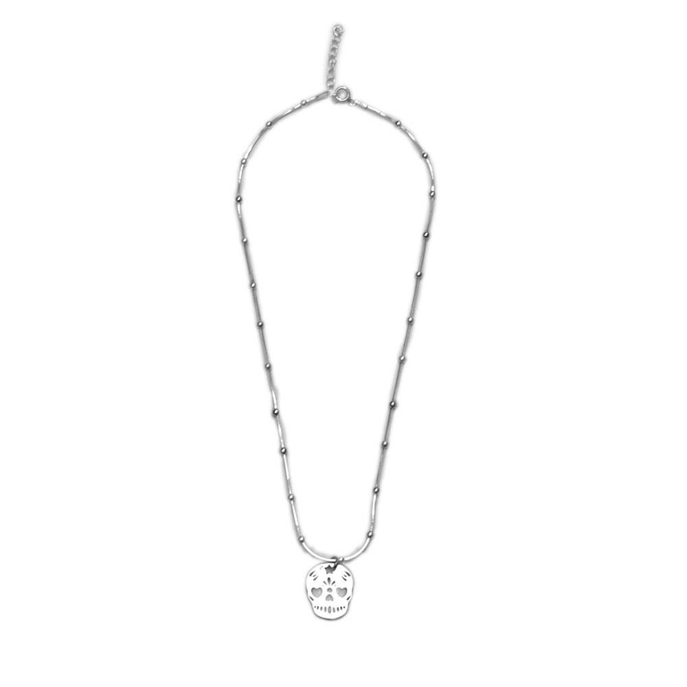 Collar colgante calavera plata by conldelola