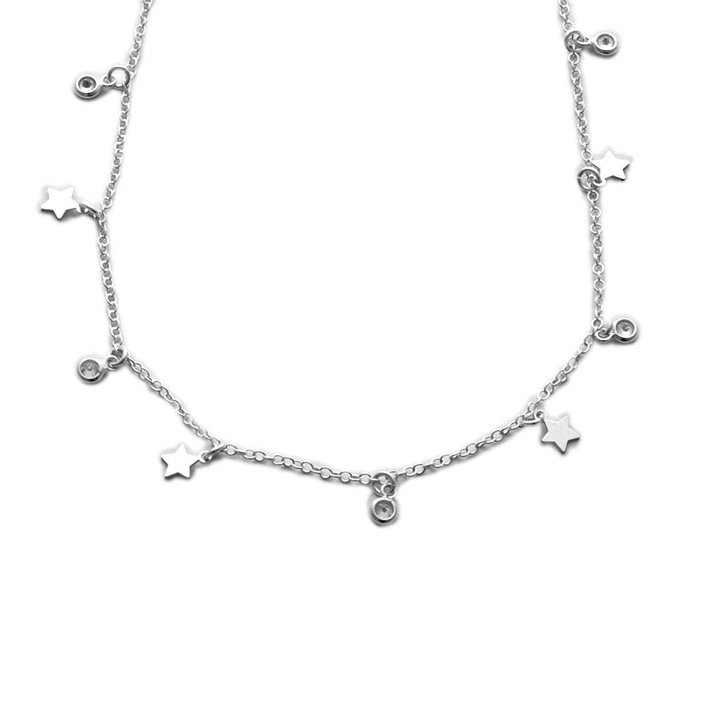 Collar mini estrellas y circonitas de plata